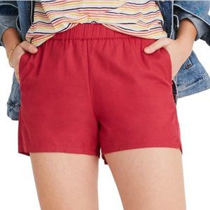 Madewell Pull-On Shorts in Red/Pink